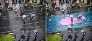 Дождь рисует на асфальте