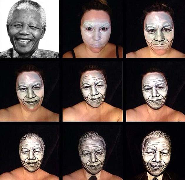 Make up artist transforms herself into famous faces, London Britain, June 2014