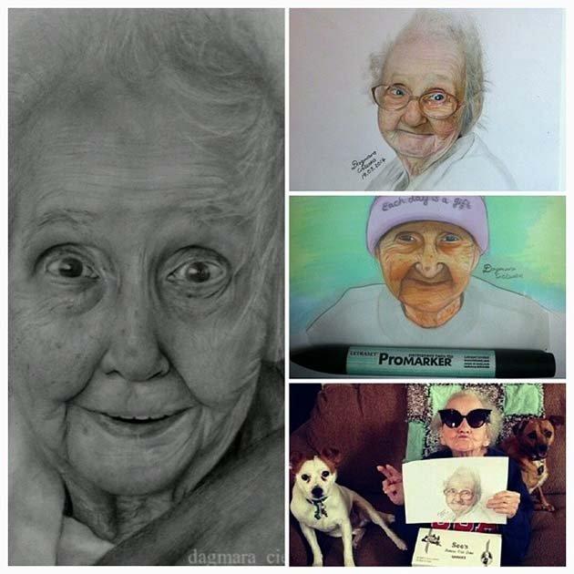 Портреты бабушки Бетти, присланные ее подписчиками из разных стран