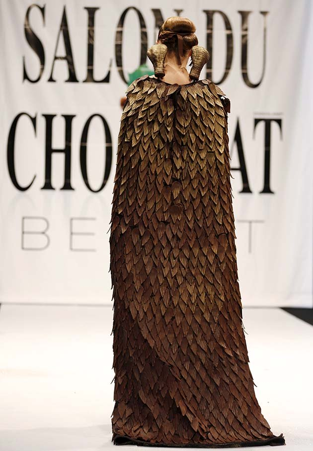 A model presents a creation made with chocolate by professional designers and pastry chefs during a Chocolate Fashion Show at the Salon Du Chocolate in Beirut, Lebanon