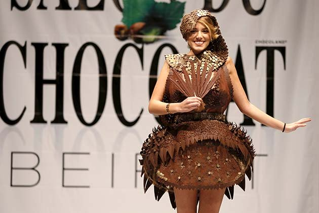 A model presents a creation made with chocolate by professional designers and pastry chefs during the Chocolate Fashion Show at the Salon Du Chocolate in Beirut